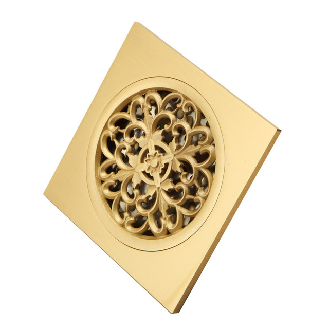 New Arrival Brass Polished Bathroom Wetroom Square Shower Drain Floor Trap  Waste Grate Round Cover Hair