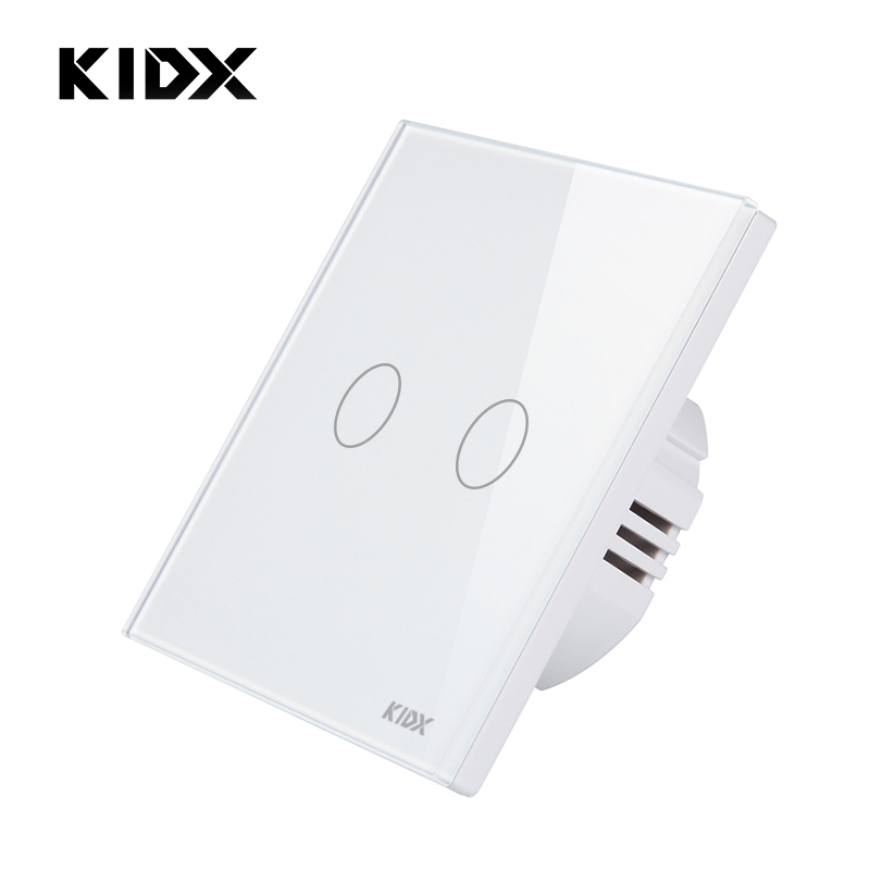 EU/UK Standard Touch Switch, 2 Gang 1 Way Wall Light Touch Screen Switch,Remote control switch , White, AC170~250V vhome eu uk standard touch switch black 1gang 1way smart home wireles rf 433mhz remote control wall light ac170 250v