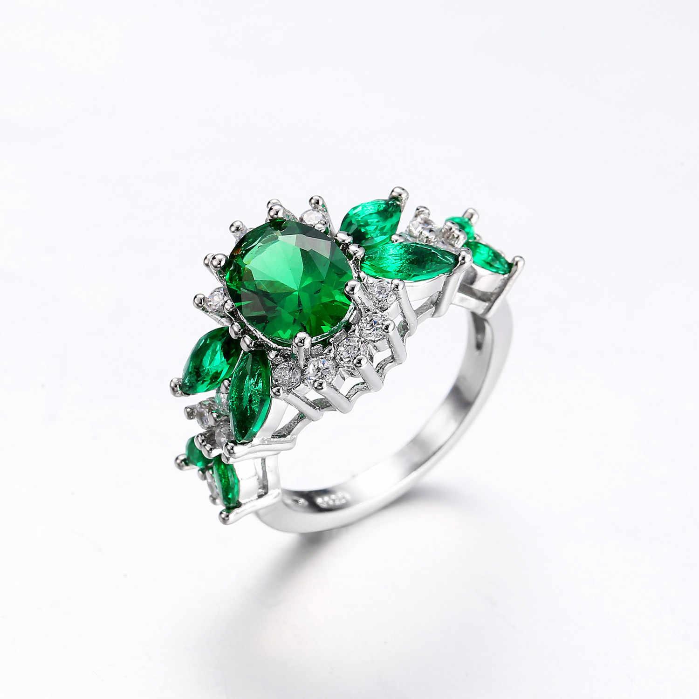 Couleur De L Emeraude s925 argent couleur émeraude diamant bague anillos cadeau bizuteria bague  etoile pour femmes diamante turquoise pierre bijoux bague