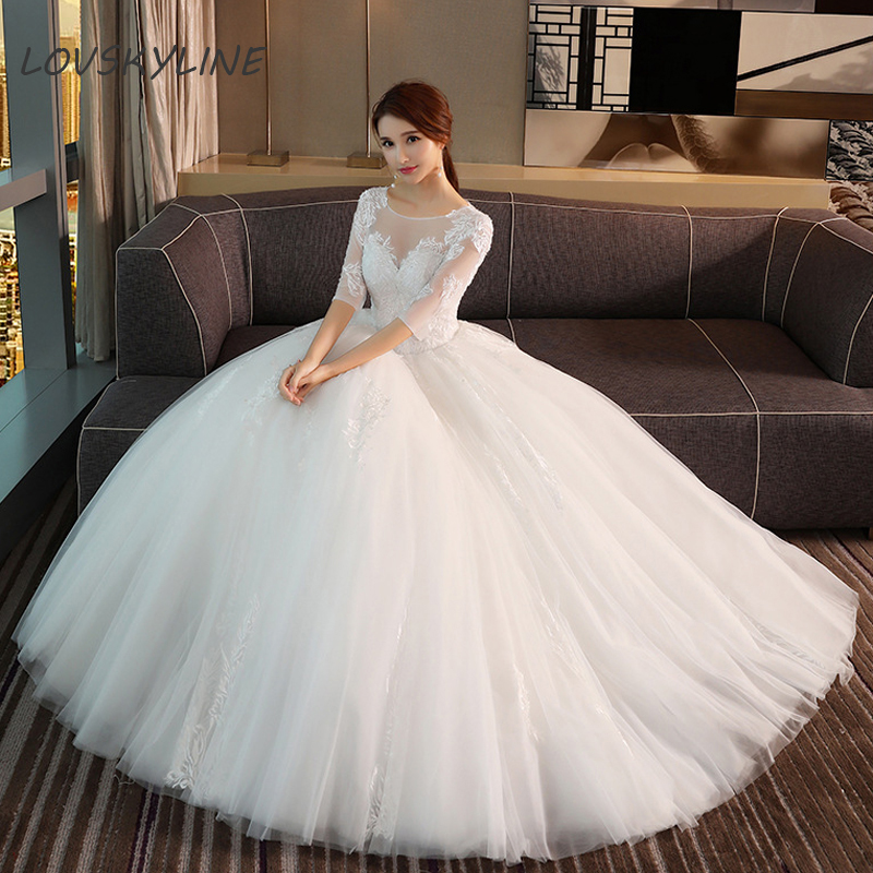 Lace Boho Wedding Dress O-Neck Half Sleeves Embroidery Lace Up Back Bohemian Wedding Dresses  Ball Gown
