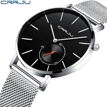 35b4f4b3768c 2018 nueva moda Simple hombres CRRJU reloj diseño único negro Casual cuarzo  relojes hombres lujo negocios reloj Zegarek Meskie