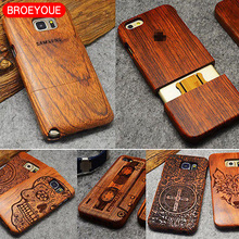 Фотография Wood Case For Samsung Galaxy S5 S6 S7 Edge Plus Note 5 4 3 Bamboo Carving 100% Natural Wood+ Plastic Phone Cover Cases