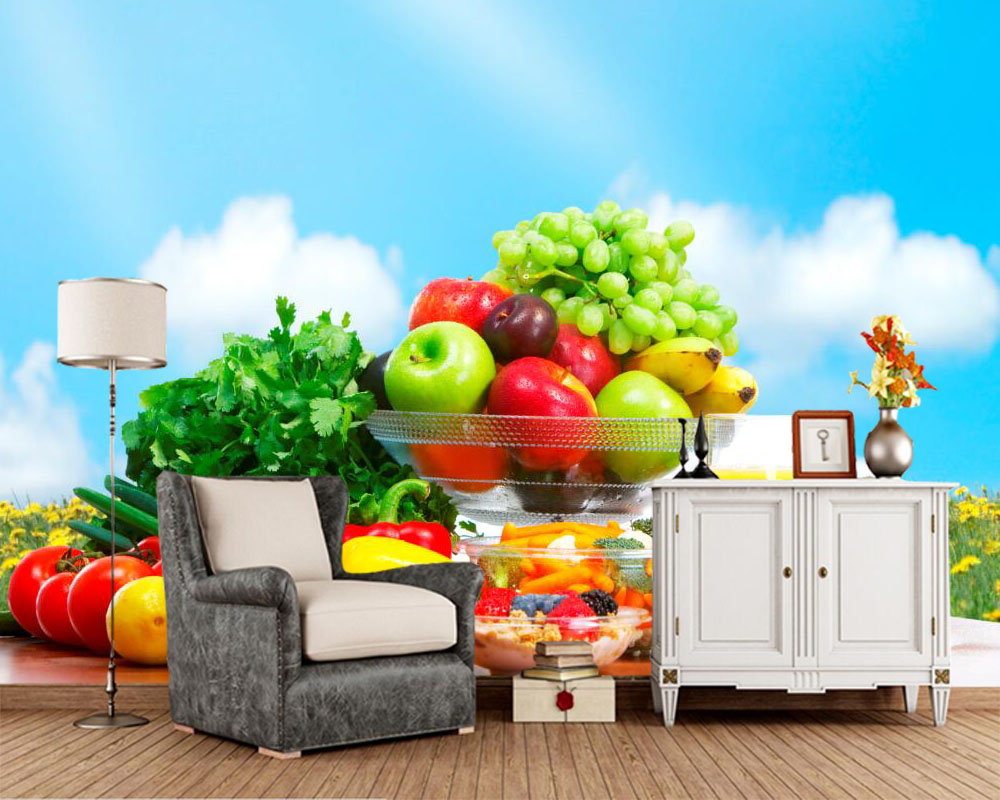 Custom Colorful fruits and vegetables food wallpaper ...