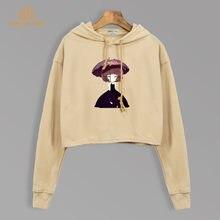 Kawaii Koreanische Cropped Hoodies Cartoon Mädchen Gedruckt Nette Mit Kapuze  Herbst 2019 Harajuku Crop Sweatshirts Frauen 07a69e9f60