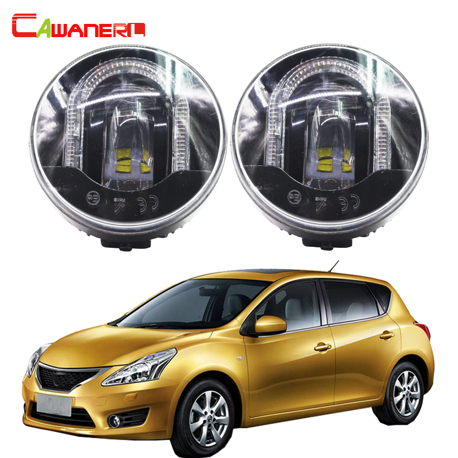 Cawanerl For Nissan Tiida Hatchback Saloon 2007 Up Car LED Fog Light DRL Daytime Running Lamp Accessories 2 Pieces cawanerl 2 x car led fog light drl daytime running lamp accessories for nissan note e11 mpv 2006