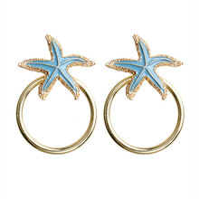 ECODAY Fashion Metal Starfish Drop Earings Big Statement Earrings for Women Pendientes Oorbellen Brincos 2019 Beach Jewelry