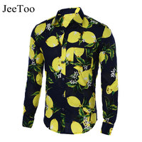 Hot Sale Size M 5XL 2016 New Fashion Floral Print Slim Fit Shirts Men S Long