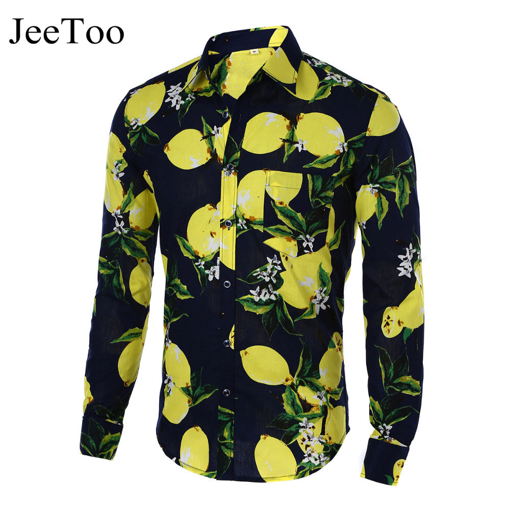 Mens shirts hot 2017 fashion long sleeve print floral for Mens slim hawaiian shirt