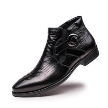 Британский стиль; Модные Ботинки martin с узором «крокодиловая кожа»; мужские кожаные ботинки с пряжкой; Мужские ботинки в деловом стиле; Ботинки Челси; мужская обувь