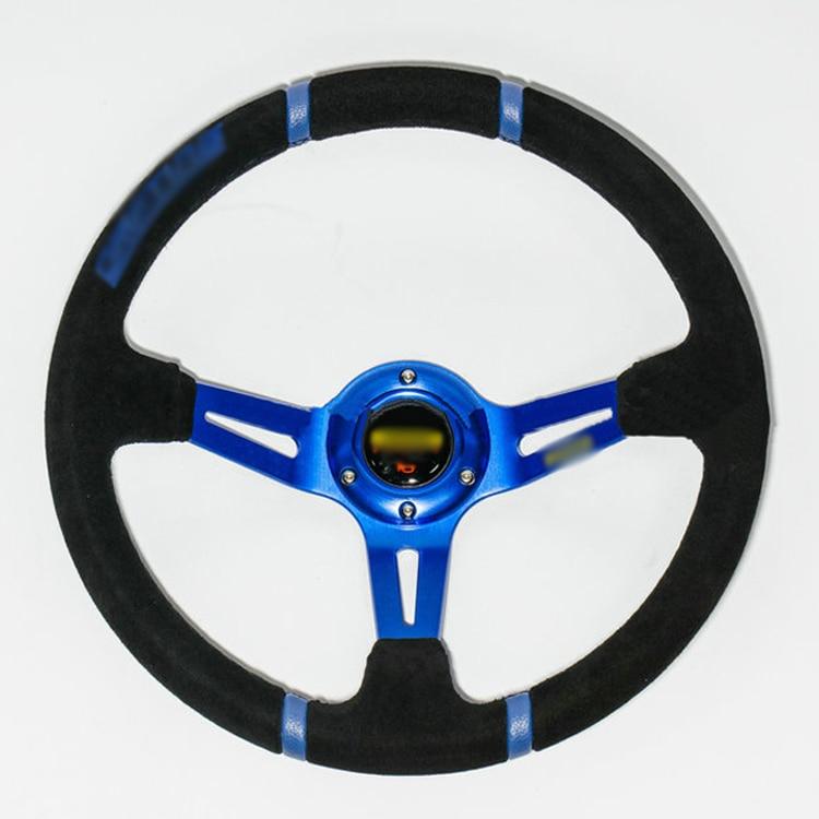 Ipoboo Новый Универсальный спортивный 350 мм замши глубокое блюдо руль синий в полоску