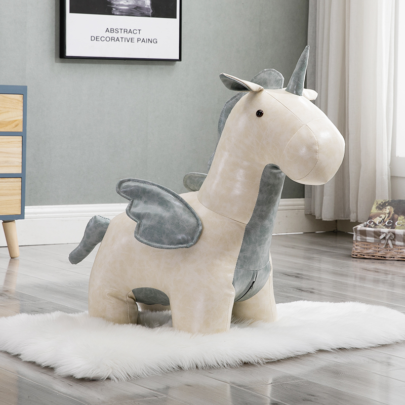 New Arrival Pony Stool Synthetic Leather Taburetes Pufe Chair For Creative For Stool Holiday Gift Sofa Unicorn Animal Shoes