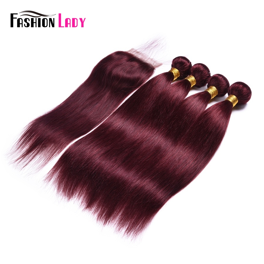 Fashion Lady Pre-Colored 4 Bundles With Closure Red 99j Mahogany Indian Straight Hair With Free Part Lace Closure Non-Remy