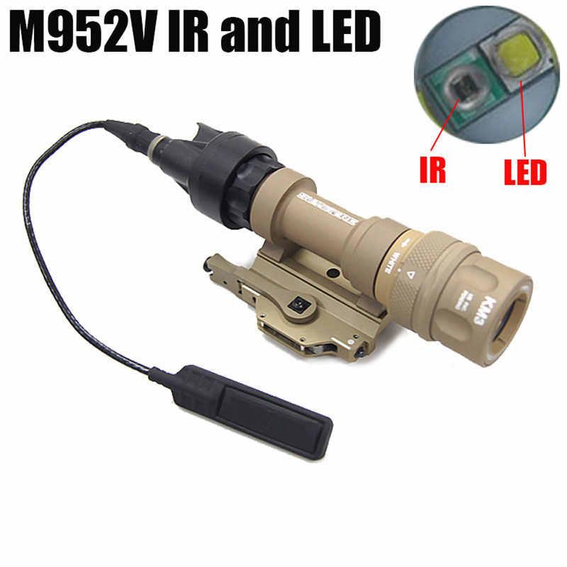 M952V IR, luz de arma táctica explorador, LED, salida de luz blanca, interruptor remoto impermeable, linterna de presión, montaje QD, riel Picatinny