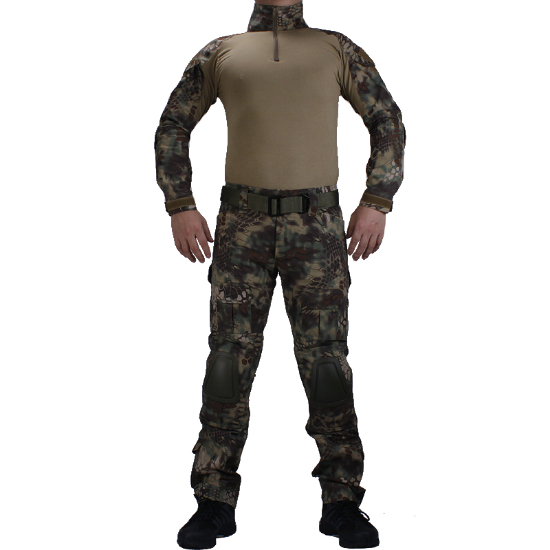 Camouflage BDU Mandrake Combat uniforms shirt with broek and elbow & knee pads militaire game cosplay uniform ghilliekostuum