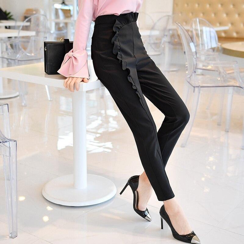 Dabuwawa New Black Women Long Pencil Pants Elegant Office Ladies Ruffles Trousers High Waist Zipper Suit Pants D18ALP005