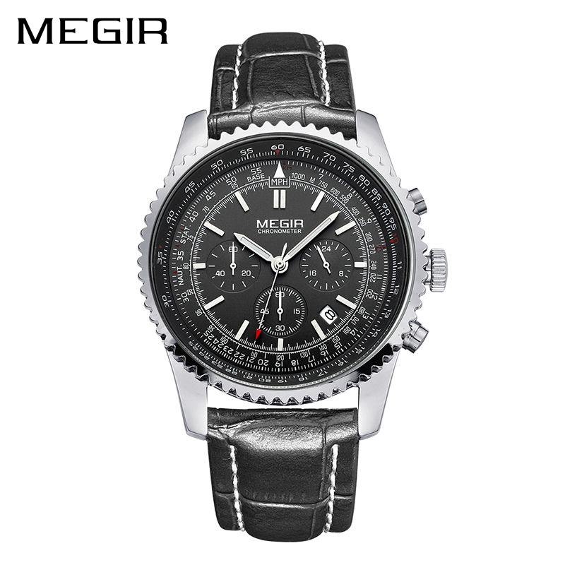 MEGIR Watch Men Fashion Luminous Quartz Men Watch Top Brand Luxury Watches Clock Men Relogio Masculino Erkek Kol Saati Man 2009 megir clock men relogio masculino top brand luxury watch men leather chronograph quartz watches erkek kol saati for male