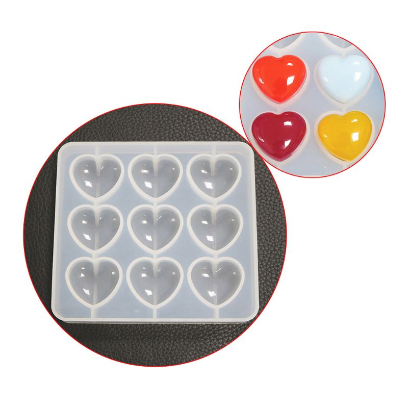 Epoxy Mold Manual DIY Crystal 9 Hole Heart Shape Mold Silicone High Mirror Pendant Handmade Making Molds
