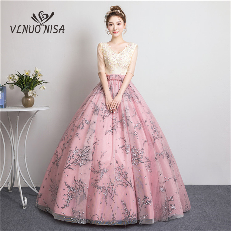Robe De Soiree High Grade V-Neck Long Evening Dress Beading Applique Bow Ball Gown Party Prom Solo Performance Host Dress 35