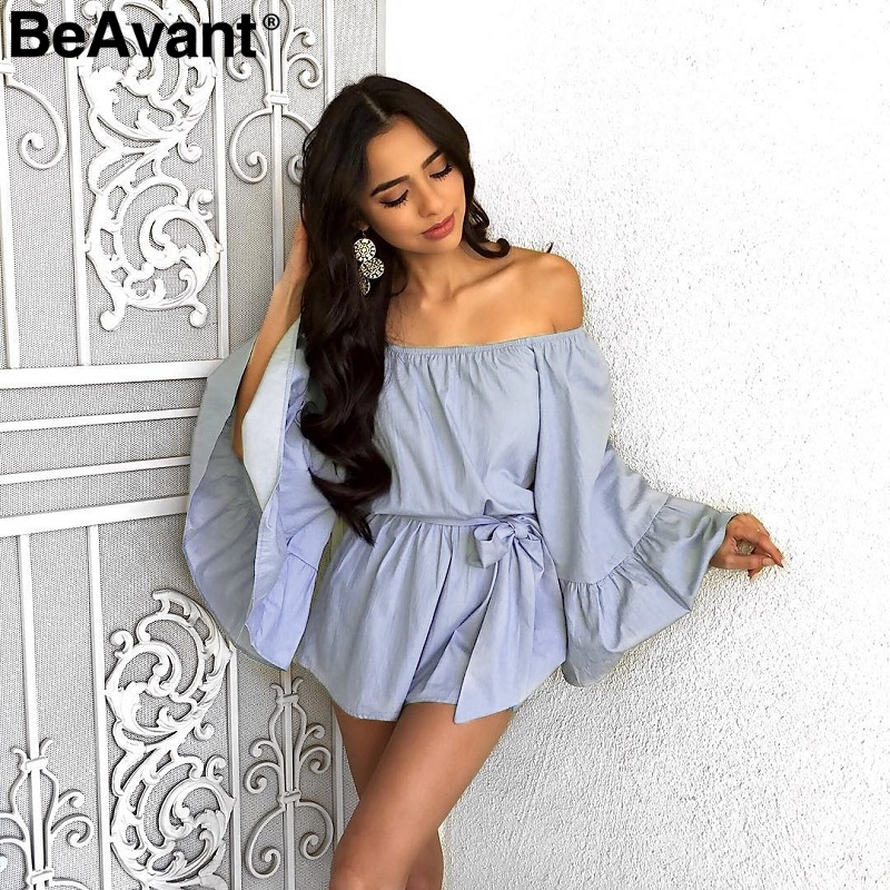 BeAvant Sexy Off Shoulder Jumpsuit Romper Women Casual Flare Sleeve Short Playsuit Summer Ruffle Bow Beach Jumpsuit Overalls