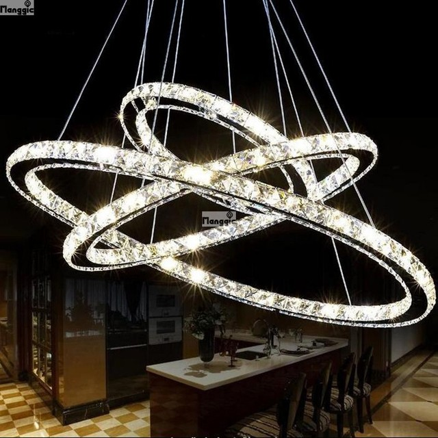 Hot Diamond Ring Led Crystal Chandelier Light Modern Pendant Lamp Circles 100 Guarantee Diffe