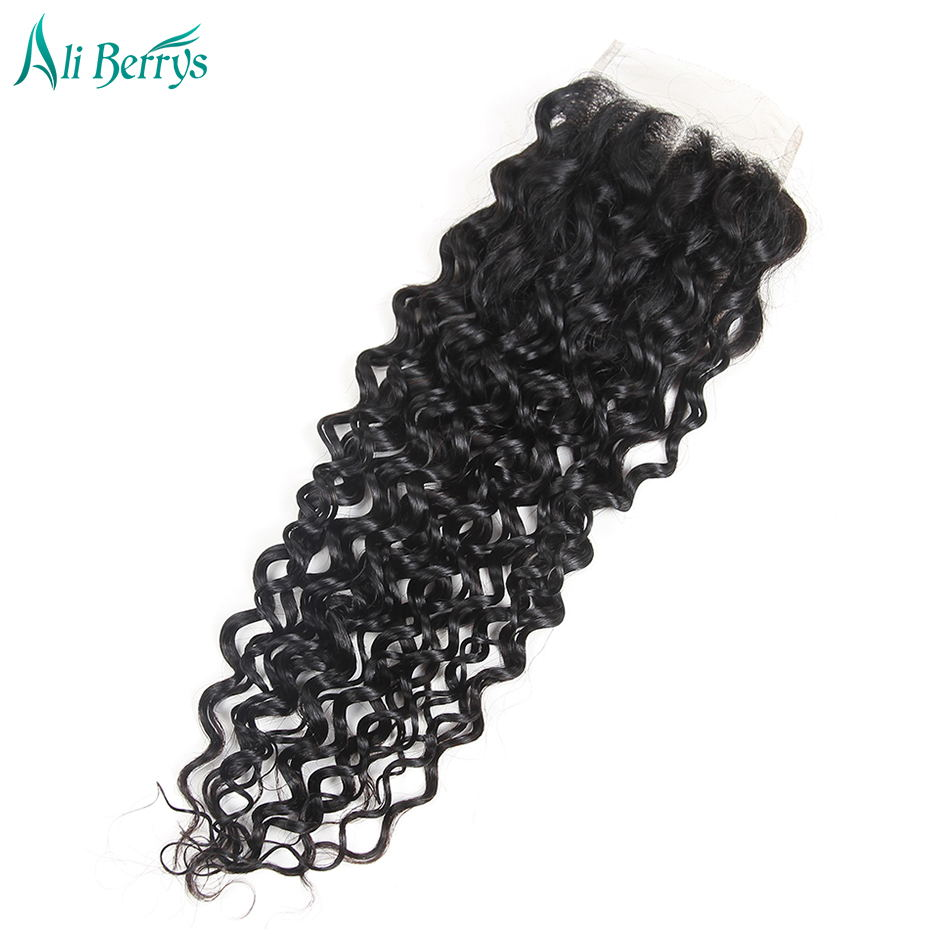 Ali Berrys Hair Water Wave Middle Part Closure Brazilian 4x4 Lace Closure Nature Color 120% Density Hand Tied Free Shipping