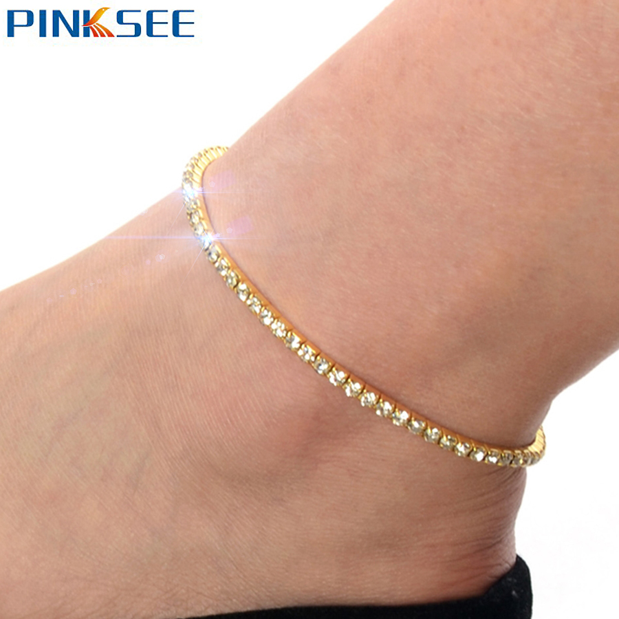 clear anklet crystal beads amazon tennis com bracelet clothing rhinestone ankle tone austrian silver dp