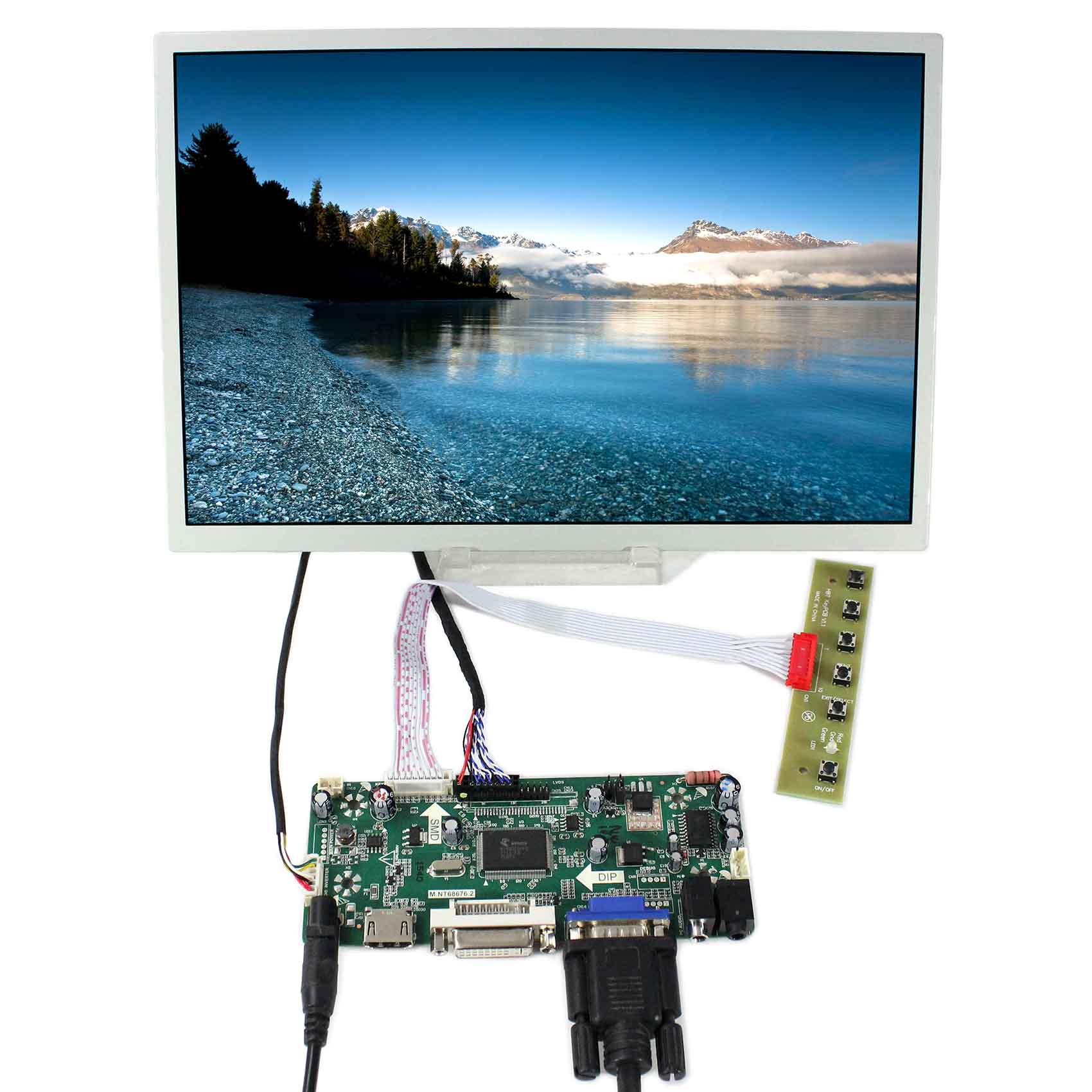 HDMI+DVI+VGA+AUDIO LCD Controller Board With 12.1inch 1280x800 LQ121K1LG52 LCD Screen hdmi vga av lcd controller board for 14 1inch 15 4inch 1280x800 ltn141at01 b141ew02 b154ew02 lp154wx4 lcd screen