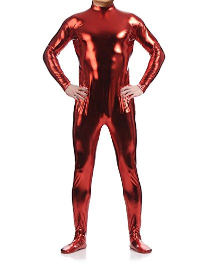 LZCMsoft Men Long Sleeve Shiny Metallic Zentai Bodysuit without Hood Adult Zip High Neck Footed Unitard Boys Performers Costume