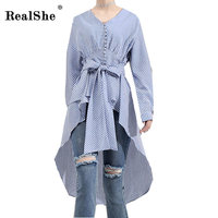 RealShe Spring Stripe Shirt Women New Fashion Long Sleeve Bow Tie Waist Belted Tunic Top Blusas