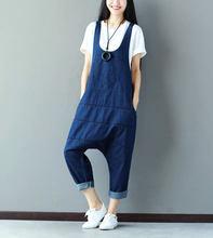 961bfa94f3f Women 2016 New Mori Girl Cute Jumpsuits Female Denim Jumpsuits Korean  version Overalls large size Crotch Pants harem Trousers