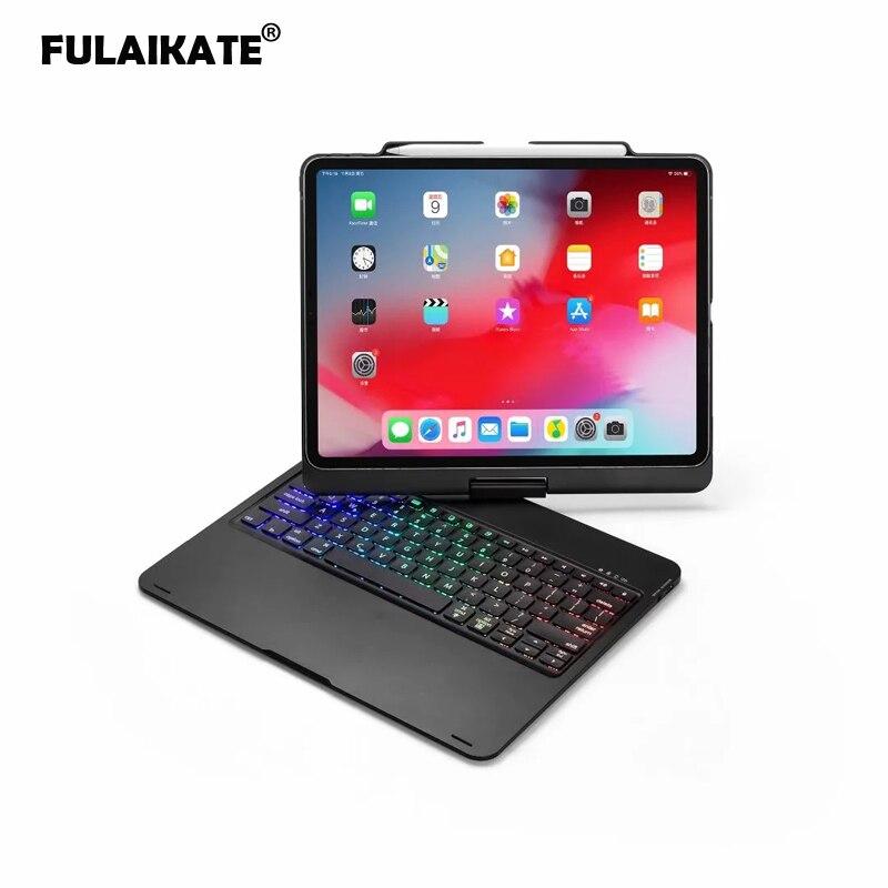 FULAIKATE For Apple IPad Pro 12.9 2018 Rotate Bluetooth Wireless Keyboard Foldable Case Aluminum ClamFunda With Pen Slot Funda