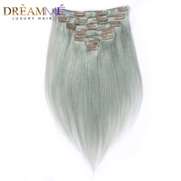 Dreaming Queen Hair Straight Hair Clip In Brazilian Machine Made Remy Human Hair Extensions Silver Grey Color 7 Pieces/Set