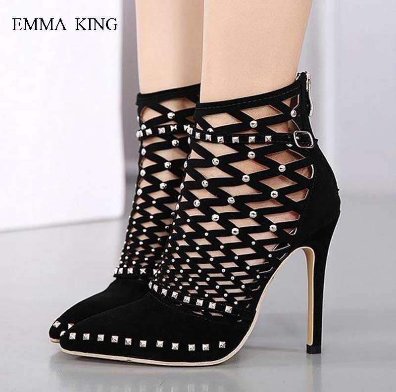 Summer Spring Shoes Woman Zapatos De Mujer Rivets Studded Hollow Out Ankle Boots for Women Buckle Pointed Toe Thin High HeelsSummer Spring Shoes Woman Zapatos De Mujer Rivets Studded Hollow Out Ankle Boots for Women Buckle Pointed Toe Thin High Heels