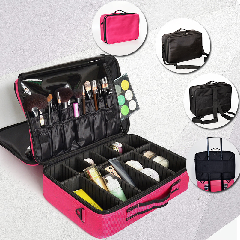 Women Travel Cosmetic Storage Organizer Box Bag 3 Layer Professional Dresser Portable Makeup Artist Nail Tool Bags Beauty Cases
