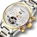 2017 Esqueleto Tourbillion Mecânica Automatic Mens Watch Aço Inoxidável Strap Banda Auto Vento Marca Top relógio de Pulso de Luxo de Ouro