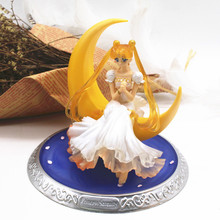 Figuras de acción de Super Sailor, muñecas de Luna Tsukino Usagi de PVC de 13cm, alas, decoración de tartas, juguete de modelo de colección, regalos de muñecas