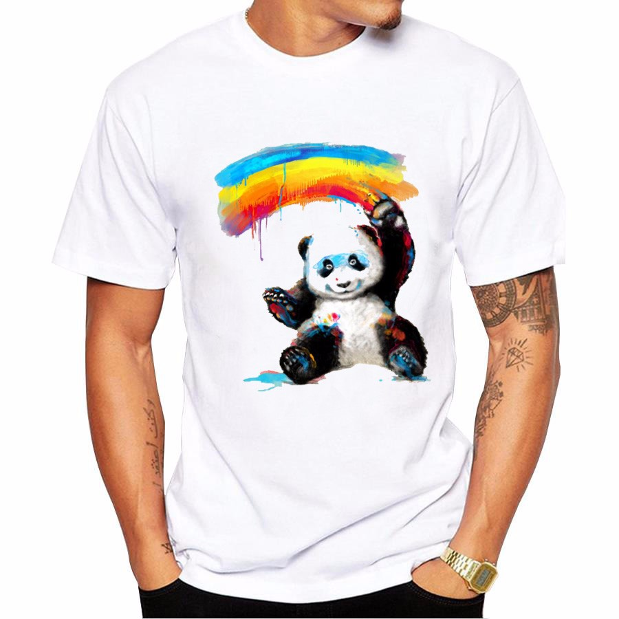 New Arrivals 2017 Men's Fashion Rainbow Panda Printed T Shirt Cool Summer Tops High Quality Casual Tee
