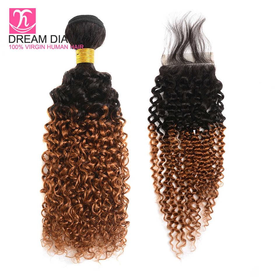 DreamDiana два тона 1B/30 Омбре перуанские вьющиеся волосы с закрытием Remy Ombre 4 пучка с закрытием 1B 30 пучков с закрытием