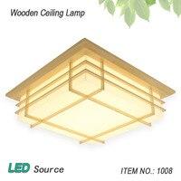 일본식 다다미 나무 천장 및 Pinus Sylvestris의 LED 램프 자연 색상 광장 그리드 종이 천장 조명기구 1008
