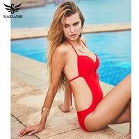 One Piece Swimsuit Sexy Swimwear Women 2016 Summer Beach Wear Bathing Suit Swim Bandage Backless Halter