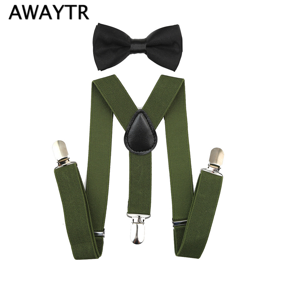 Kid Suspenders with Bowie AWAYTR 2Pcs 1-8 Years New Baby Army Green Bow Tie Suspender Set for Party Boys Girls Elastic Braces