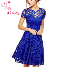 Women Floral Lace font b Dresses b font Short Sleeve Party Casual Color Blue Red Black