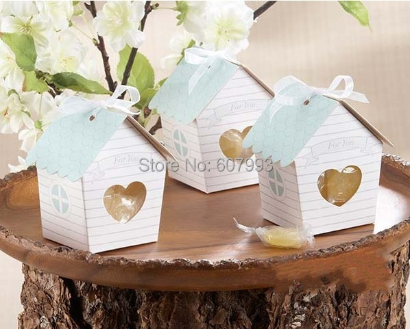 Lovely small house baby shower birthday party favor candy box