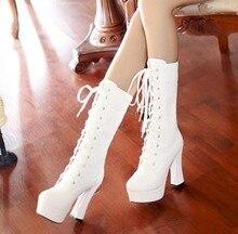 women thick heel platform high heels knee high martin gladiator boots lacing straps white boots