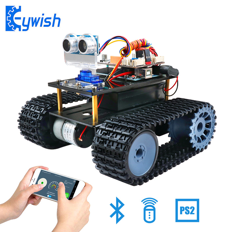 KeywishTank Robot for Arduino UNO R3 Smart Cars Kit APP RC Remote Control Ultrasonic Bluetooth Module Stem Toys for Children Kid