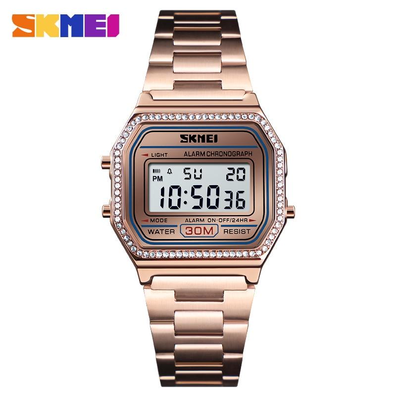 SKMEI Brand Watch Women Digital Wristwatches Stainless Steel Band LED Digital Watch Square Sport Watches Women Relogio Masculino