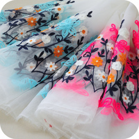 Bilateral Positioning Organza Embroidered Lace Cloth Fabrics For Patchwork DIY Clothing Fabric Material 130cm 100cm Pcs