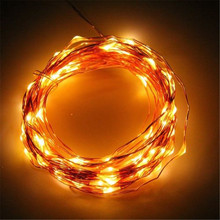 ECLH 10M 33ft 100 led 3AA battery powered copper wire string lights for christmas festival wedding party decoration