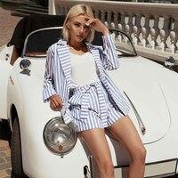 Винтажный полосатый комплект из двух предметов для женщин 2019 летние синие женские костюмы топы и шорты элегантный офисный Женский комплект...