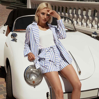 Vintage Striped Two Piece Set Women 2019 Summer Blue Womens Suits Tops and Shorts Elegant Office Ladies 2 Piece Set
